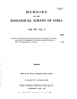 Memoirs of the Zoological Survey of India PDF