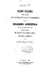 Notas a la oración inaugural leida en la Universidad Literaria de Salamanca en la solemne apertura del curso académica de 1863 a 1864