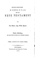 Kritisch exegetischer kommentar   ber das Neue Testament     PDF