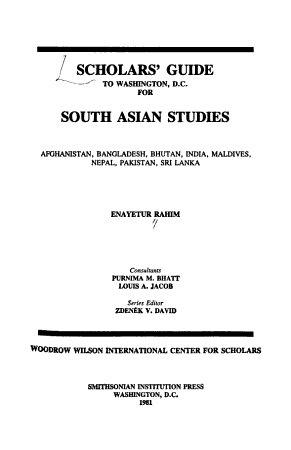 Scholars  Guide to Washington  D C   for South Asian Studies PDF