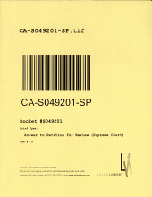 California. Supreme Court. Records and Briefs: S049201, Answer to Petition for Review (Supreme Court)