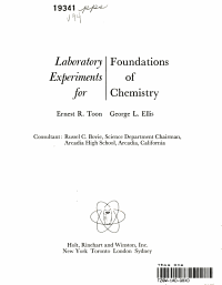 Laboratory Experiments for Foundations of Chemistry