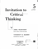 Invitation to Critical Thinking PDF