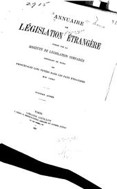 Annuaire de législation étrangère: Volume16