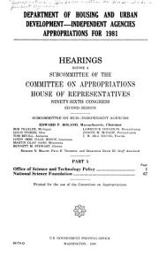 Department of Housing and Urban Development  independent Agencies Appropriations for 1981 PDF