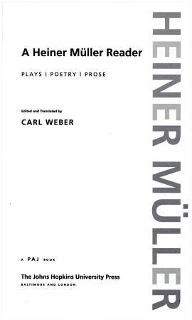 A Heiner M  ller Reader PDF