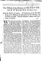 The history of the divorce of Henry viii and Katharine of Arragon     by Joachim le Grand  a criticism   With dr  Burnett s answer and vindication of himself  in A letter to monsieur Thevenot  Cropped   PDF