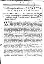 The history of the divorce of Henry viii and Katharine of Arragon ... by Joachim le Grand [a criticism]. With dr. Burnett's answer and vindication of himself [in A letter to monsieur Thevenot. Cropped].
