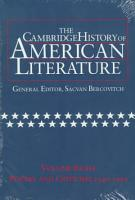 The Cambridge History Of American Literature Volume 8 Poetry And Criticism 1940 1995