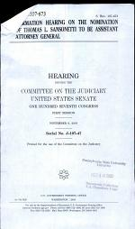 Confirmation Hearing on the Nomination of Thomas L. Sansonetti to be Assistant Attorney General