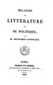 Mélanges de Litterature et de Politique