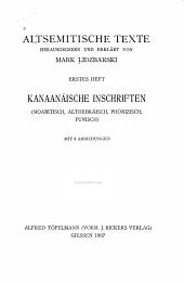Kanaanäische Inschriften (Moabitisch, Althebräisch, Phönizisch, Punisch)