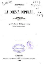 Observaciones sobre la poesía popular: con muestras de romances catalanes inéditos