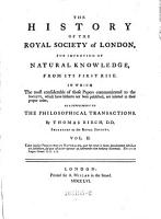 The history of the R  Society of London for improving of natural knowledge from its first rise  As a suppl  to the Philosophical Transactions PDF