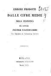 Errori prodotti dalle cifre medie nella statistica Pietro Castiglioni