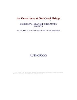 An Occurrence at Owl Creek Bridge  Webster s Japanese Thesaurus Edition  PDF
