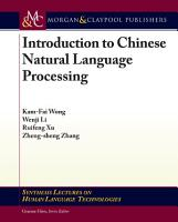 Introduction to Chinese Natural Language Processing PDF