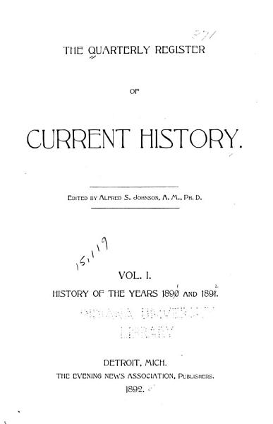 Download The Quarterly Register of Current History Book