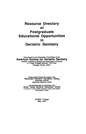 Resource Directory of Postgraduate Educational Opportunities in Geriatric Dentistry PDF