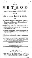 The Method of Teaching and Studying the Belles Lettres     The Second Edition     Translated from the French PDF