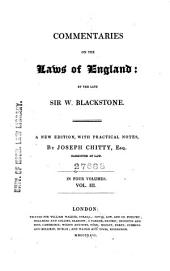 Commentaries on the Laws of England: Volume 3