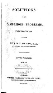 Solutions of the Cambridge Problems: From 1800 to 1820, Volume 2