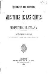 Estadística del personal y vicisitudes de las Cortes y de los ministerios de España: desd el 29 de setiembre de 1833, en que falleció el rey Don Fernando VII, hasta el 24 de diciembre de 1879, en que se suspendieron las sesiones