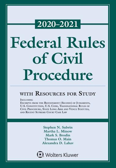 Federal Rules of Civil Procedure with Resources for Study PDF