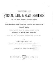 Examples of Steam, Air, & Gas Engines of the Most Recent Approved Types, Practically Described: With an Account of All the Principal Projects for the Production of Motive Power from Heat which Have Been Propounded in Different Times and Countries