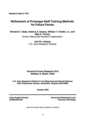 Refinement of Prototype Staff Training Methods for Future Forces PDF