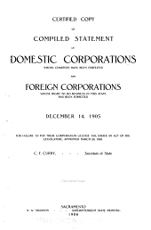 Certified Copy of Compiled Statement of Domestic Corporations Whose Charters Have Been Forfeited and Foreign Corporations Whose Right to Do Business in this State Has Been Forfeited, December 14, 1905, for Failure to Pay Their Corporation License Tax, Under an Act of the Legislature, Approved March 20, 1905