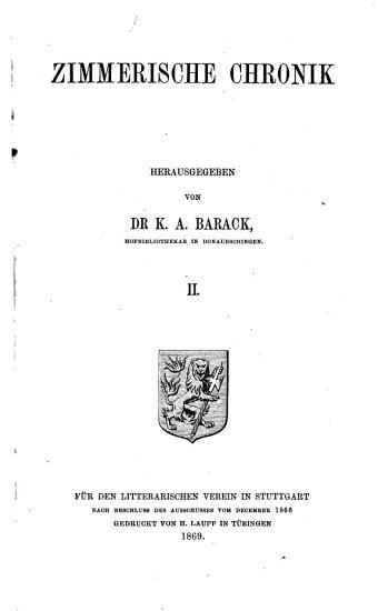Zimmerische Chronik PDF