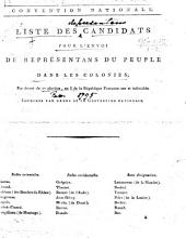 Convention Nationale. Liste des candidats pour l'envoi de représentans du peuple dans les colonies, par décret du 27 pluviôse, an 3 de la République Française une et indivisible