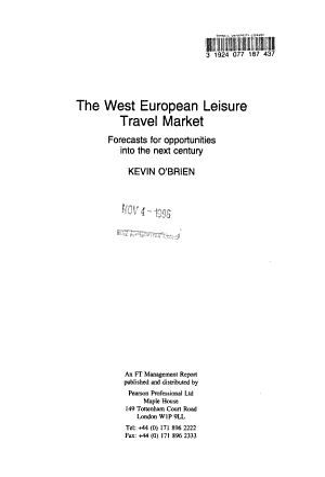 The West European Leisure Travel Market
