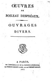 Oeuvres de Boileau Despréaux: Volume1
