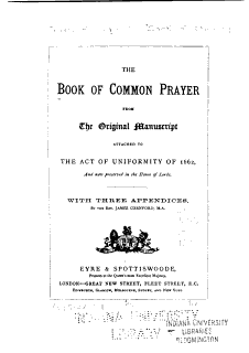 The Book of Common Prayer from the Original Manuscript Book