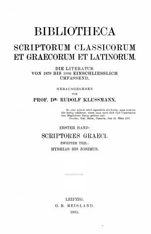 Bibliotheca scriptorum classicorum et graecorum et latinorum PDF