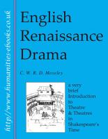 English Renaissance Drama  A Very Brief Introduction to Theatre and Theatres in Shakespeare s Time PDF