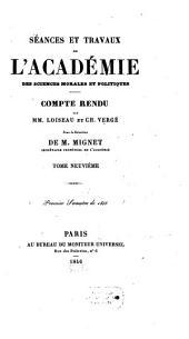 Séances et travaux de l'Académie des Sciences Morales et Politiques: Volume9