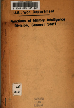 The Functions of the Military Intelligence Division  General Staff
