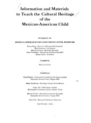 Information and Materials to Teach the Cultural Heritage of the Mexican American Child PDF