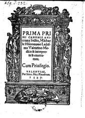 Prima Primi Canonis Avicennę Sectio, Michaele Hieronymo Ledesma Valentinio Medico & interprete et enarratore