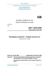 GB 13042-2008: Translated English of Chinese Standard. GB13042-2008.: Packaging containers - Tinplate aerosol can.