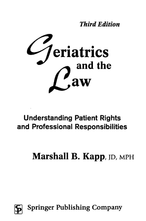 Geriatrics and the Law PDF