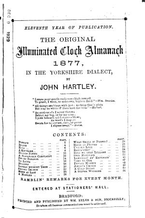 The Original Clock Almanack ... in the Yorkshire Dialect ...