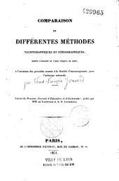 Comparaison de différentes méthodes tachygraphiques et sténographiques depuis l'origine de l'art jusqu'à nos jours