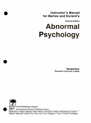 Instructor s Manual for Barlow and Durand s Second Edition Abnormal Psychology PDF