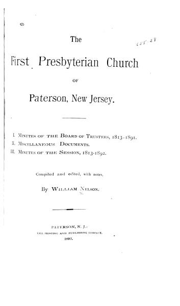 Download The First Presbyterian Church of Paterson  New Jersey Book