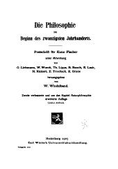 Die Philosophie im Begina des zwanzigsten Jahrhunderts