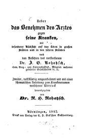 Ueber das Benehmen des Arztes gegen seine Kranken: Auch mit dem Titel: Vademecum für Aerzte. Bändchen ??